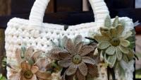 Çiçekli Örgü Beyaz Çanta Yapılışı