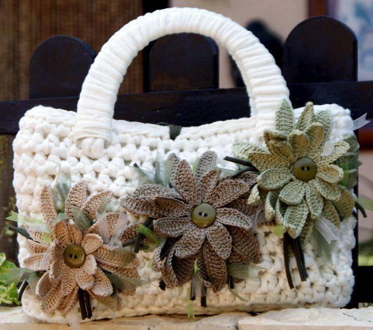 örgü çiçekli çanta