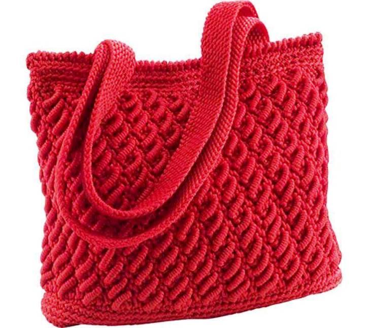 örgü çanta tarifi kırmızı