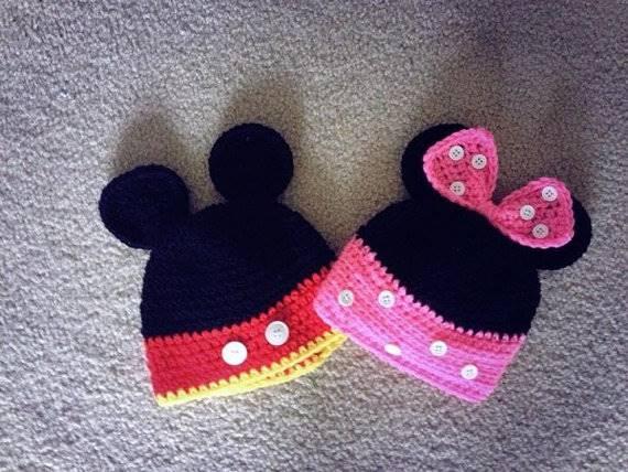 örgü erkek ve bebek şapkaları mickey ve minnie örgü şapka