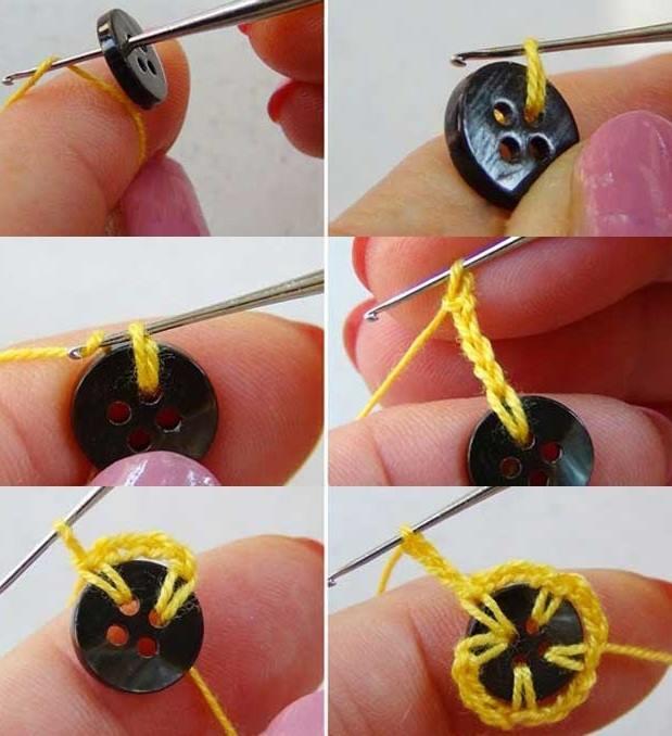1 renkli düğmelerle çiçek motifleri