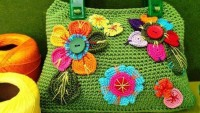 Yeşil Çiçekli Örgü Bayan Çanta Yapılışı