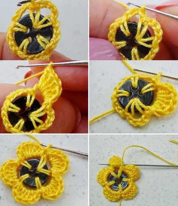 2 renkli düğmelerle çiçek motifleri
