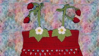 Örgü Kırmızı Yapraklı Kız Çocuk Elbise Takımı Tarifi