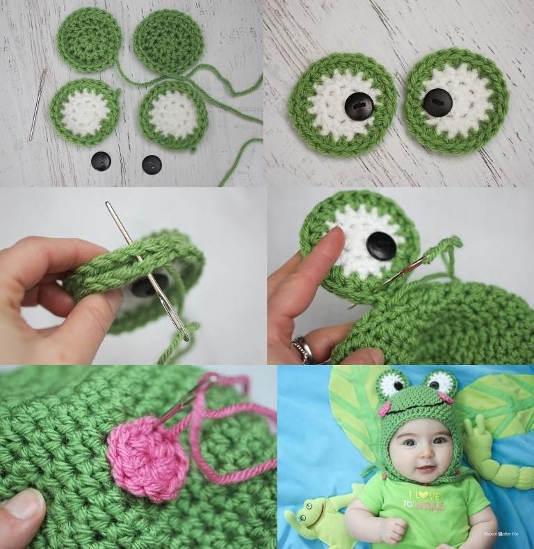 4 örgü kurbağa desenli şapka