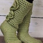 ceviz yeşili tığ işi örgü çorap