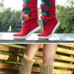 desenli örgülü çorap