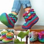 timsah örgülü ev çorapları