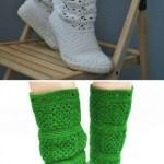 yeşil ve beyaz örgü çizme