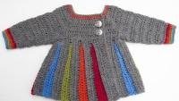 Tığ işi Renkli Çizgili Bebek Hırkası Modeli