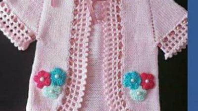 Pembe Çiçekli Kız Bebek Yeleği