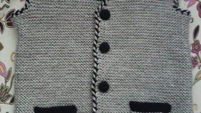 Gri Siyah Cepli Erkek Bebek Yeleği