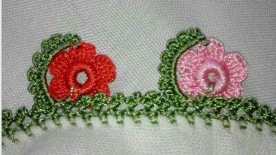 Tığ işi yaprak içinde çiçek tülbent oyası tarifi