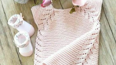 Yakadan Başlama Ajurlu Yarım Kollu Elbise Yapımı. 1 yaş.