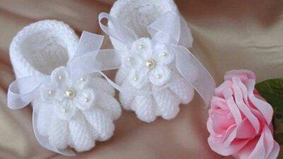 Karpuz Dilimli Çiçek İnci Kurdele Süslemeli Bebek Patiği. 1 yaş içindir