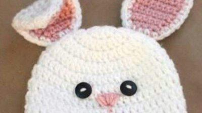 Tığ İşi Tavşan Görünümünde Sevimli Bere Yapımı. 1 .2 yaş.