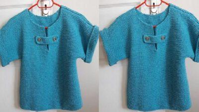 Fakir Kollu Haraşo Olarak Örülen Bluz Yapımı. 4 .5 yaş