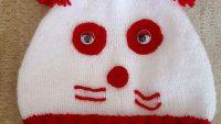 Sevimli Panda Görünümünde Ponpon Süslemeli Çocuk Bere Yapımı. 2 .3 yaş
