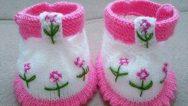 Çiçek İşlemelerle Süslü Bantlı Bebek Patiği Yapımı. Ayrıntılı Fotoğraf İle Anlatımlı. 1 yaş.