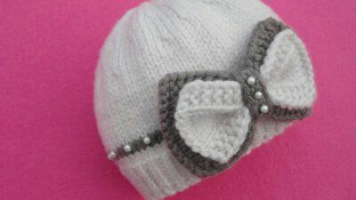 Fiyonk Ve İnci Süslemeli Bebek Beresi Yapımı.  1 .2 yaş