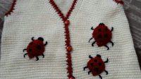Tunus İşi Uğur Böceği Süslemeli Kolay Çocuk Yeleği Yapımı.  3 yaş