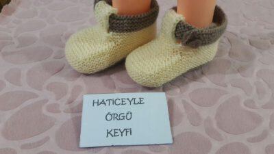 Ayakkabı Görünümlü Bağcık Süslemeli (Resimli Anlatımlı) Bebek Patiği-Bebek Botu Yapımı 1 -2 yaş