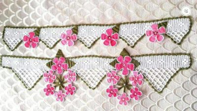 Çiçek İnci Ve Yaprak  Süslemeli Ağır Havlu Kenarı Yapımı