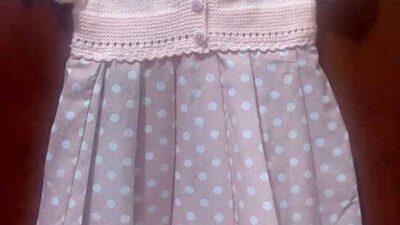 Üst Kısmı Örgü Alt Kısmı Kumaş Volan Süslemeli  Elbise Yapımı. 2 yaş