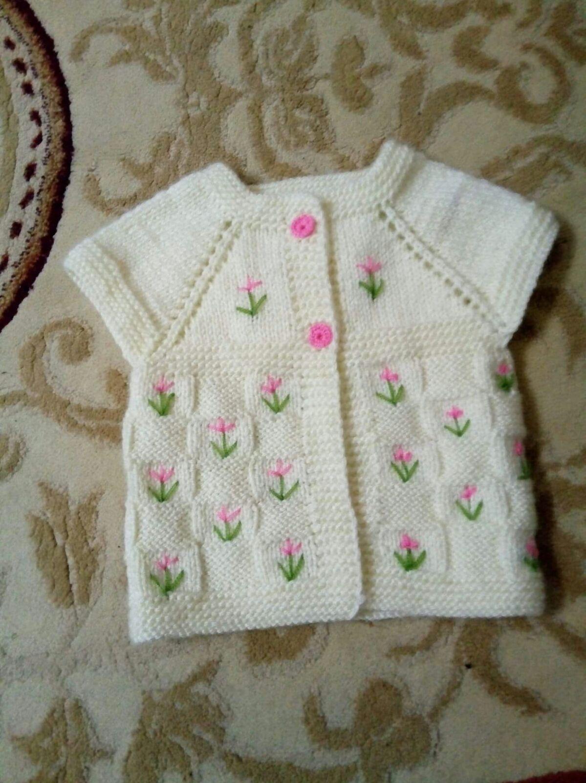 Büyük Kesme Şeker Örneğinde Çiçek Süslemeli Çocuk Yeleği Yapımı. 2 Yaş 71