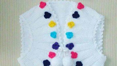 Önler Yuvarlak Çiçek Ve Ponpon Süslemeli Çocuk Cepken Nasıl Örülür.  2 .3 yaş