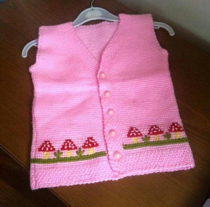 2 Renkli Önler Kruvaze Kundak Bebek Yeleği Yapımı. 1 yaş