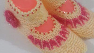 2 Şiş İle Boncuklu Ve Çiçek Süslemeli Kolay Bayan Patiği Yapımı. 37 . 38 numara