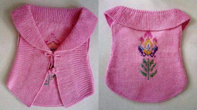 Şal Yakalı İşleme Süslemeli Bağcıklı Arka Yuvarlak Kesimli Çocuk Cepken / Bolera Tarifi. 4 .5 yaş