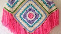 Tığ İşi 4 Motif Olarak Örülen Renkli Bayan Püsküllü Panço Yapımı