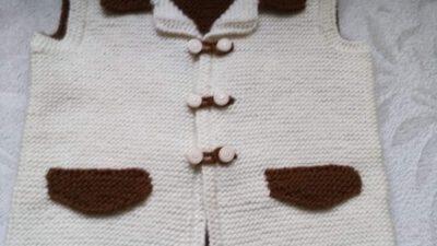 2 Renkli Cep Kapağı Süslemeli Erkek Yakalı Kolay Çocuk Ata / Efe / Damat Yeleği Yapımı. 3 .4 yaş