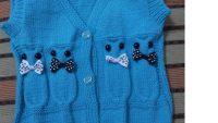 Düz Olarak Örülen Papyonlu Baykuş Süslemeli V Yakalı Çocuk Yeleği Yapımı. 4 .5 yaş