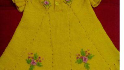Yakadan Başlama Ajurlu Valon Ve İşleme Çiçek Süslemeli Çocuk Jilesi / Elbisesi Yapımı. 2 .3 yaş