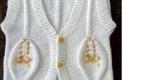 Yaprak Desenli Kurdele Süslemeli Tek Parça Olarak Örülen Bebek Yeleği Nasıl Örülür? 1 .2 yaş
