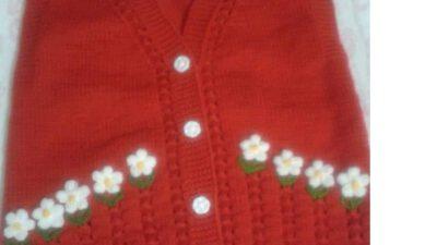 3 Düz 1 Büz Örneğinde Fıstıklı Çiçek Süslemeli Çocuk Yeleği Nasıl Örülür? 4 .5 yaş