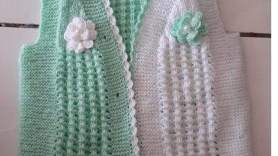 3 Düz 1 Büz Örneğinde 2 Renkli Çiçek Süslemeli Çocuk Yeleği Yapımı. 3 .4 yaş