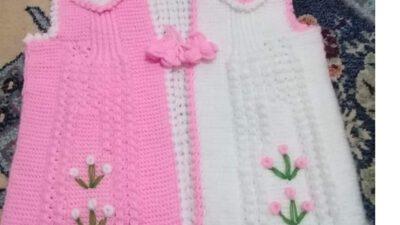 3 Düz 1 Büz Örneğinde Omuzlar Üçgen Ve Çiçek Süslemeli Çocuk Yeleği Yapımı. 5 .6 yaş