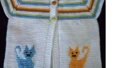 Tunus İşi Yakadan Başlama Kedi Süslemeli Çocuk Yeleği Yapımı. 1 .2 yaş