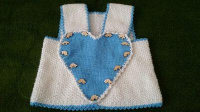 Kalp Süslemeli Dikişsiz Çocuk Yeleği Tarifi. 1 .2 Yaş