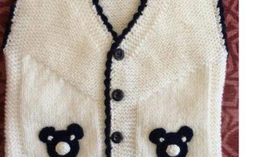 Ayıcık Süslemeli Kol Kesimi Olmayan Kolay Çocuk Yeleği Yapımı. 1 .2 Yaş