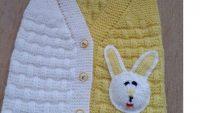 Tuğla Desenli Tavşan Süslemeli Kolay Çocuk Yeleği Tarifi. 2 . Yaş