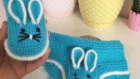 Sevimli Tavşan Kulaklı Çocuk Patiği Yapımı. 1 Yaş
