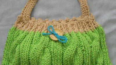 Bayan Şiş Örgü Yeşil Çanta Tarifi