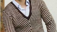 Kahverengi Krem Rengi Zigzak Çigili Erkek Kazağı