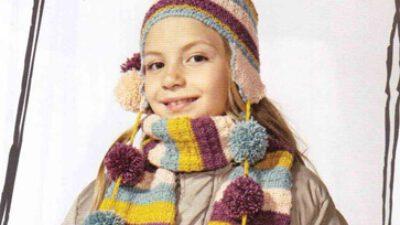 Kulaklıklı Ponponlu Kız Çocuk Atkı Bere Takımı