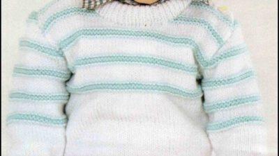 Mavi Çizgili Beyaz Erkek Çocuk Kazağı
